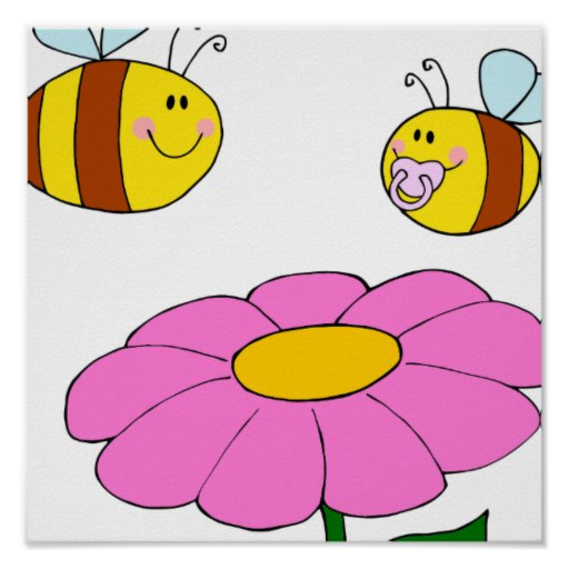mommy and baby bee flying over flower cartoon poster
