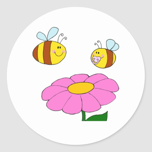 mommy and baby bee flying over flower cartoon classic round sticker