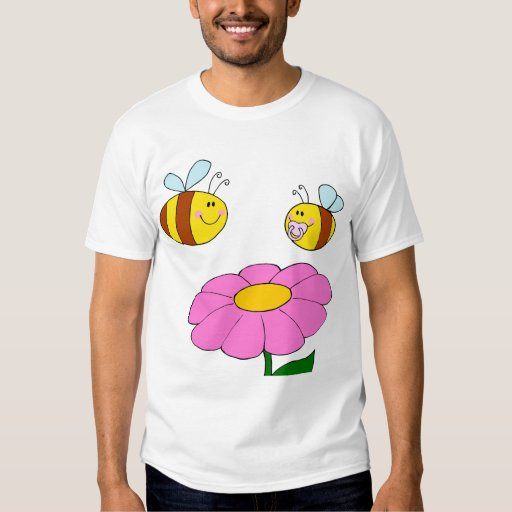 mommy and baby bee flying over flower cartoon tees