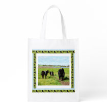 Mommy And Baby Belted Galloway Cows, Grocery Bag