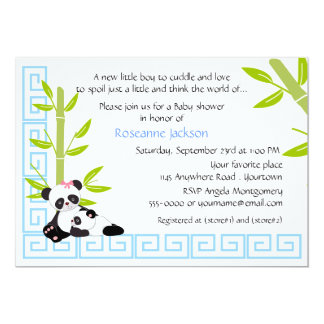 Mommy And Baby Boy Panda Baby Shower Card