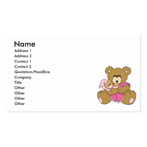 Mommy and Baby Girl Bear Business Cards