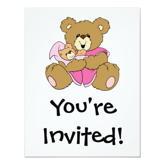 Mommy and Baby Girl Bear Card