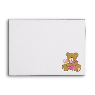 Mommy and Baby Girl Bear Envelopes