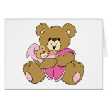 Mommy and Baby Girl Bear Greeting Cards