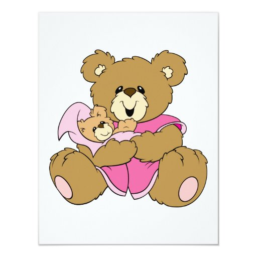 Mommy and Baby Girl Bear 4.25x5.5 Paper Invitation Card