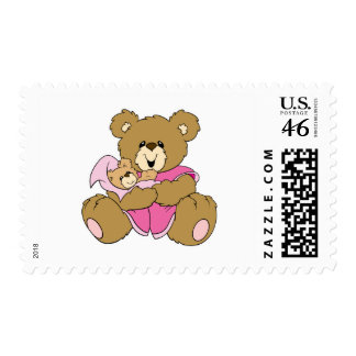 Mommy and Baby Girl Bear Postage Stamps
