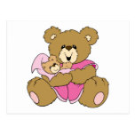 Mommy and Baby Girl Bear Postcard