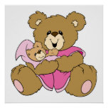 Mommy and Baby Girl Bear Print