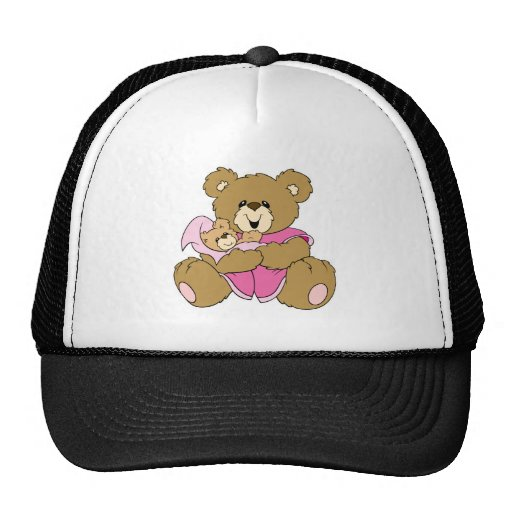 Mommy and Baby Girl Bear Trucker Hats