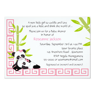 Mommy and Baby Girl Panda Baby Shower 5x7 Paper Invitation Card