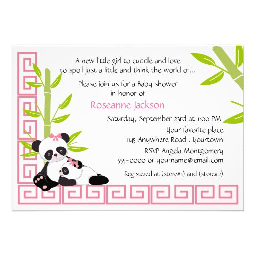Mommy and Baby Girl Panda Baby Shower Personalized Invites