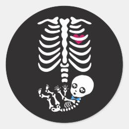 Mommy and Baby Halloween Skeleton Sticker (boy)