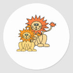 Mommy and baby Lion Classic Round Sticker