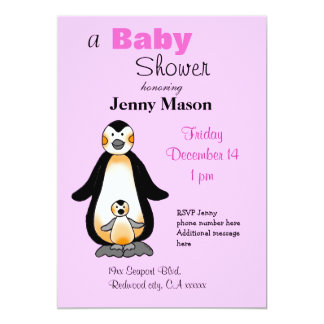 Mommy and baby penguin, baby shower card