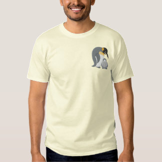 Mommy and Baby Penguin Embroidered T-Shirt