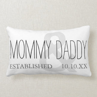 MOMMY AND DADDY Mom Dad New Parent Custom Date Lumbar Pillow