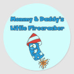 Mommy and Daddy's Little Firecracker T-shirts Classic Round Sticker