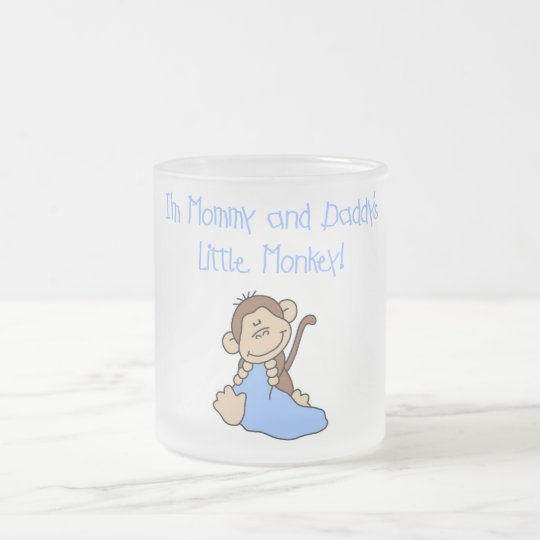 Mommy and Daddy's Monkey -Blue Tshirts and Gifts Frosted Glass Coffee Mug