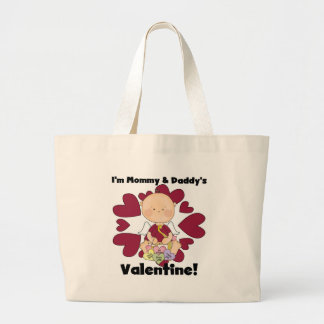 Mommy and Daddy's Valentine- Boy Cupid Large Tote Bag