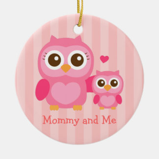 Mommy and Me, Cute Baby Owl, Pink Ceramic Ornament