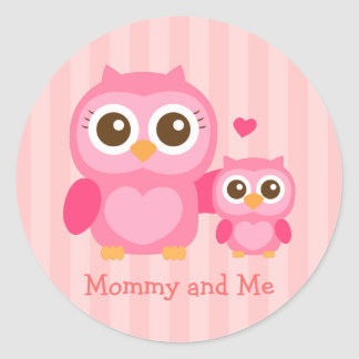 Mommy and Me, Cute Baby Owl, Pink Classic Round Sticker