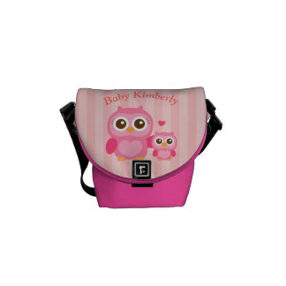 Mommy and Me, Cute Baby Owl, Pink Courier Bag