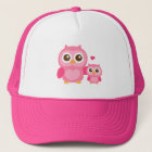 Mommy and Me, Cute Baby Owl, Pink Trucker Hat