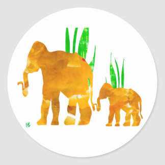 Mommy and Me Elephant Classic Round Sticker