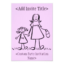 """Mommy and Me"" Little Girl Invitation or Invites"