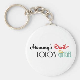 Mommy's Devil, Lolo's Angel Basic Round Button Keychain