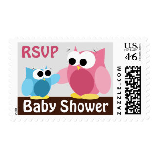 Mommy & Baby Owls - Baby Shower Postage Stamps