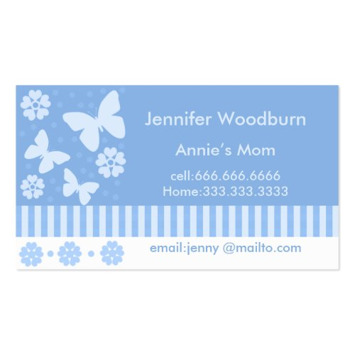 Mommy Business Cards - Blue Butterflies Flowers