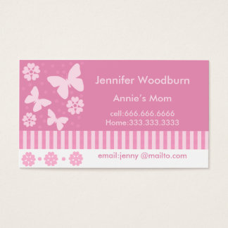 Mommy Business Cards - Pink Butterflies Flowers