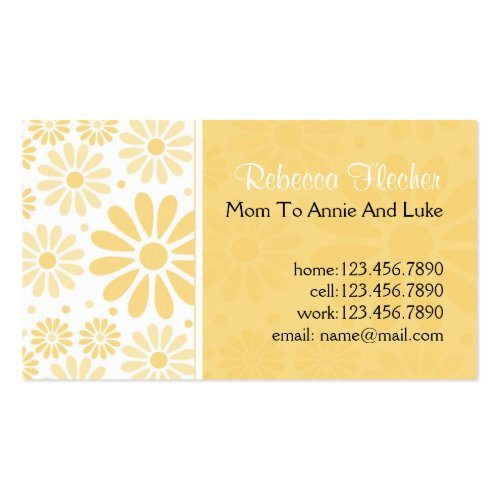 Mommy  Business Cards - Yellow Flowers