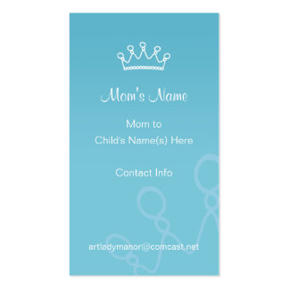 Mommy Calling Card - Blue Crown Double-Sided Standard Business Cards (Pack Of 100)