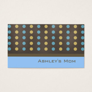 Mommy Calling Card Brown Modern Polka Dots