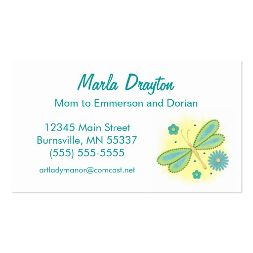 Mommy calling card spring butterfly and flowers double for Mommy business cards