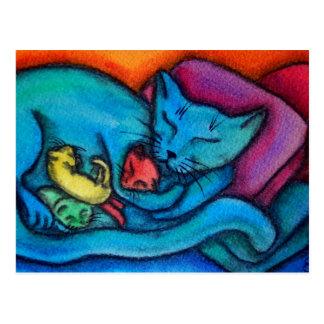 Mommy Cat Loves Her Kittens Postcard