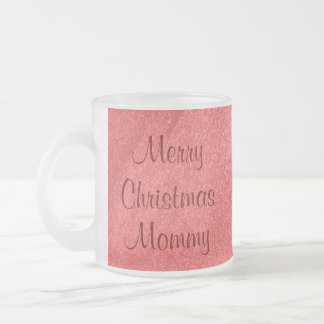 Mommy Christmas Love Frosted Glass Coffee Mug