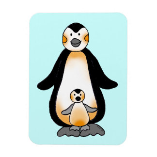 Mommy/daddy and baby penguin, baby shower rectangle magnet