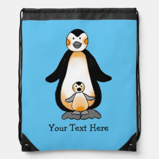 Mommy/daddy and baby penguin drawstring backpack