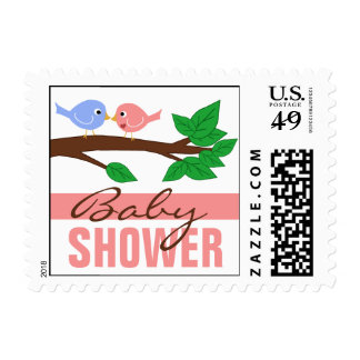 Mommy & Daddy Birdies Pink Baby Shower Stamps