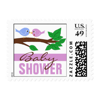 Mommy & Daddy Birdies Purple Baby Shower Stamps