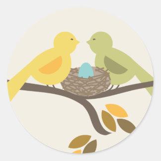 Mommy & Daddy Birds & Blue Egg Fall Baby Shower Classic Round Sticker
