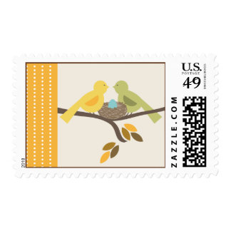 Mommy & Daddy Birds Blue Egg Fall Baby Shower Postage