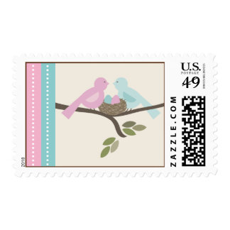 Mommy & Daddy Birds Boy Girl Twins Baby Shower Postage Stamp