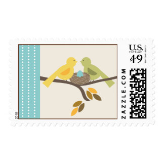 Mommy & Daddy Birds & Egg Blue Fall Baby Shower Postage