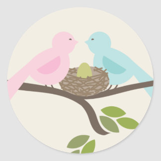 Mommy & Daddy Birds & Green Egg Baby Shower Classic Round Sticker