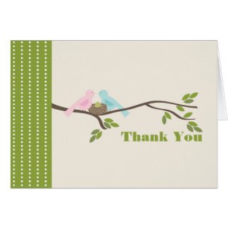 Mommy & Daddy Birds Green Egg Thank You Card